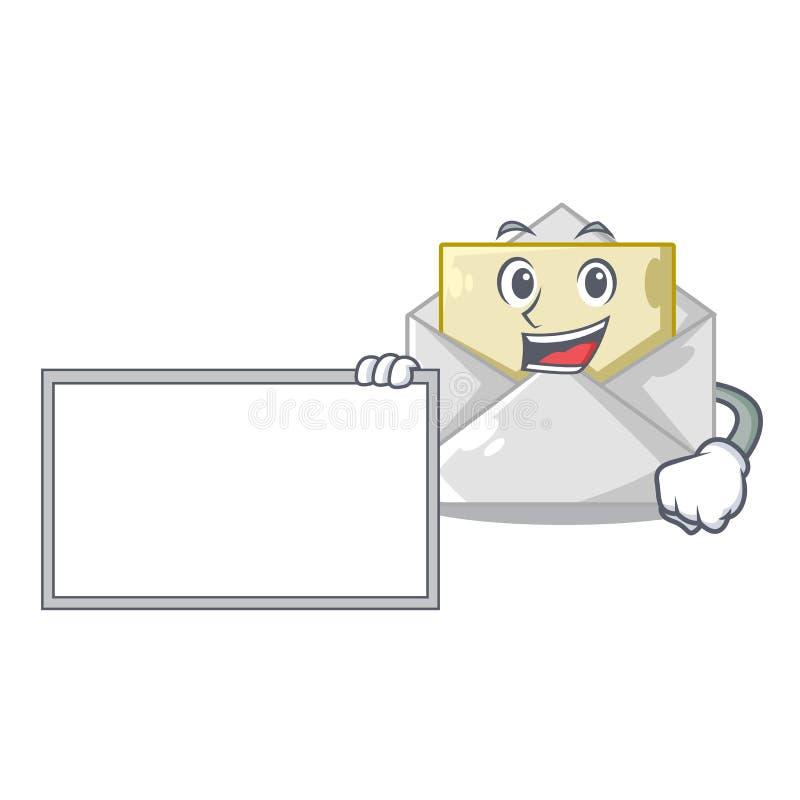 Com os envelopes abertos e fechados da placa deu forma a desenhos animados ilustração stock