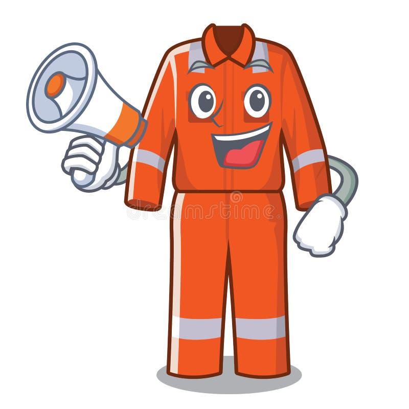 Com os macacões do funcionamento do megafone na forma dos desenhos animados ilustração stock
