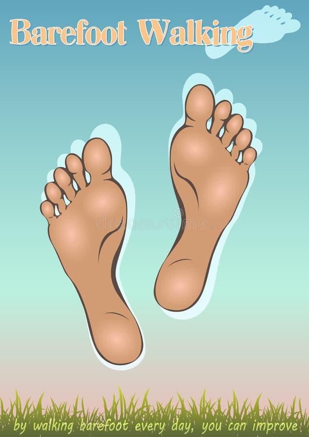 Com os pés descalços andando ilustração stock
