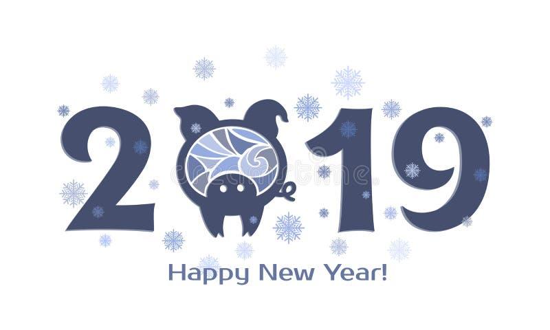 2019 com porco ilustração do vetor