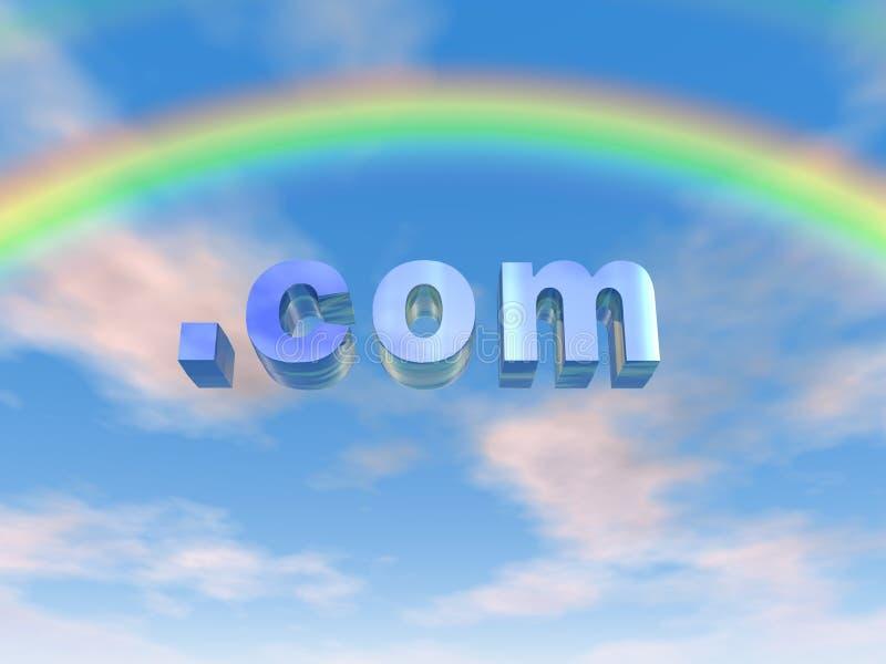 COM Rainbow. COM text under a rainbow stock illustration