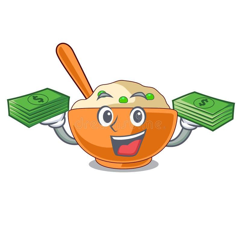 Com saco do dinheiro batata triturada na mascote da forma ilustração do vetor