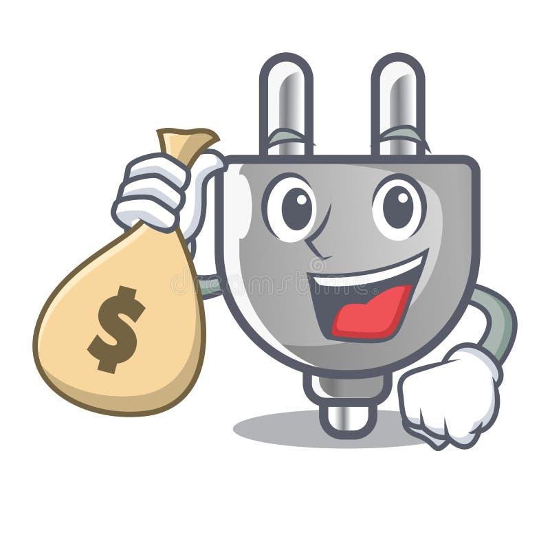 Com saco do dinheiro a tomada de poder colou a parede dos desenhos animados ilustração royalty free