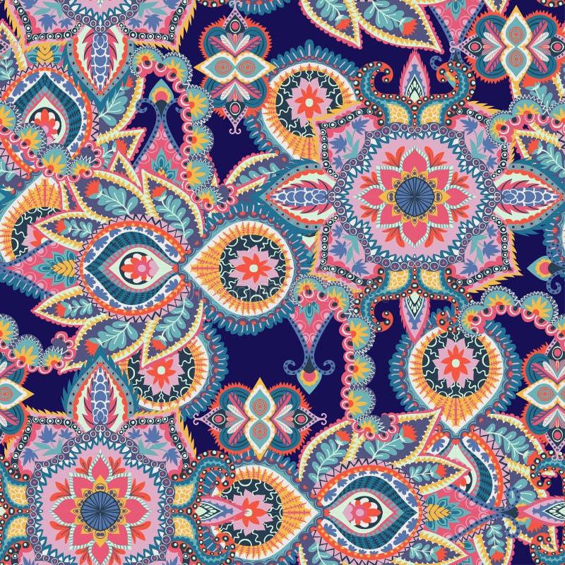 Com seta vermelha Elemento isolado do projeto Teste padrão illustratiSeamless de paisley do vetor Ornamento floral colorido Proje ilustração stock