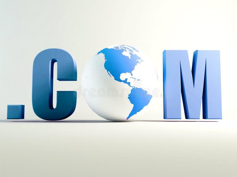 Com world. Domain .com with earth globe. internet concept stock illustration