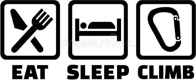 Coma ícones da escalada do sono ilustração stock
