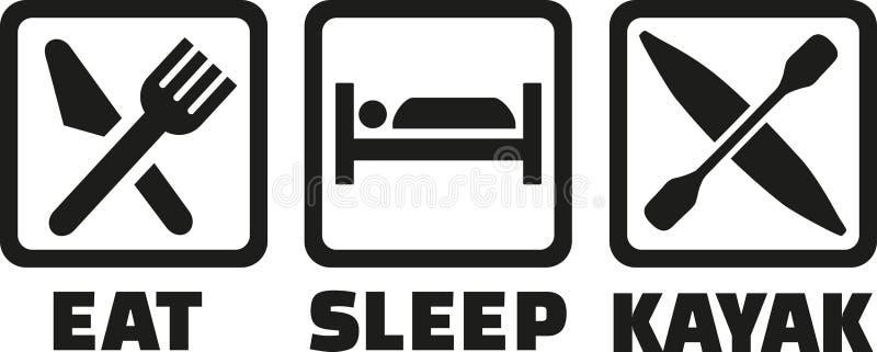 Coma ícones do caiaque do sono ilustração stock