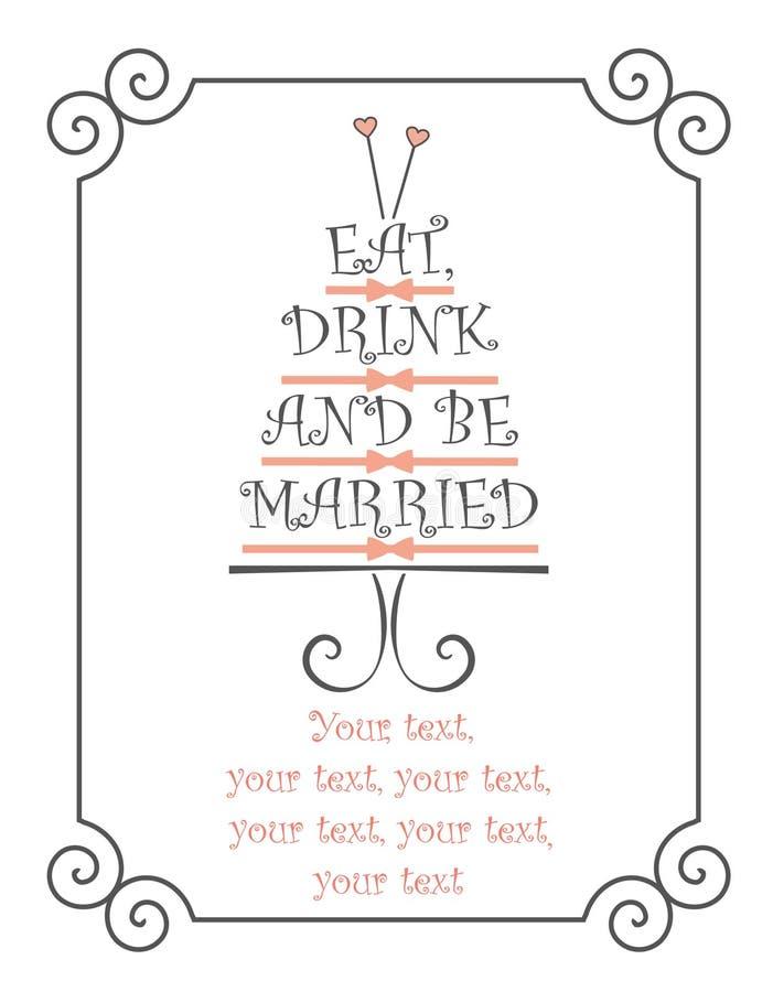 Coma, bebida e seja projeto casado do texto ilustração stock