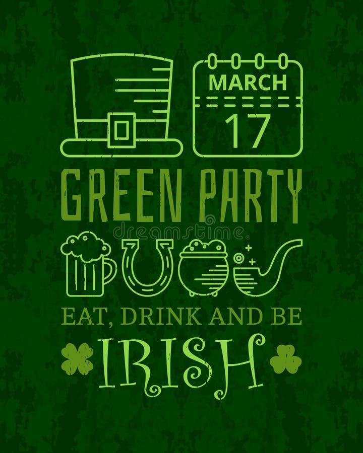 Coma, bebida y sea cartel irlandés del vintage del grunge stock de ilustración