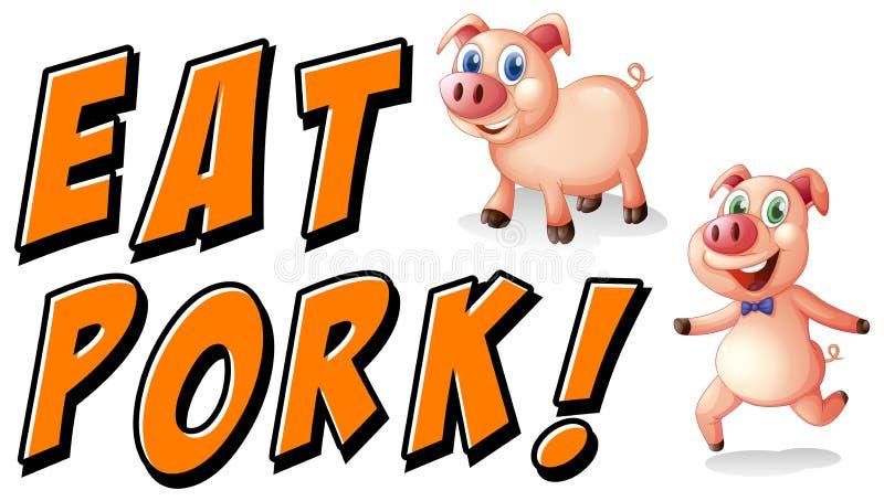 Coma a carne de porco ilustração do vetor