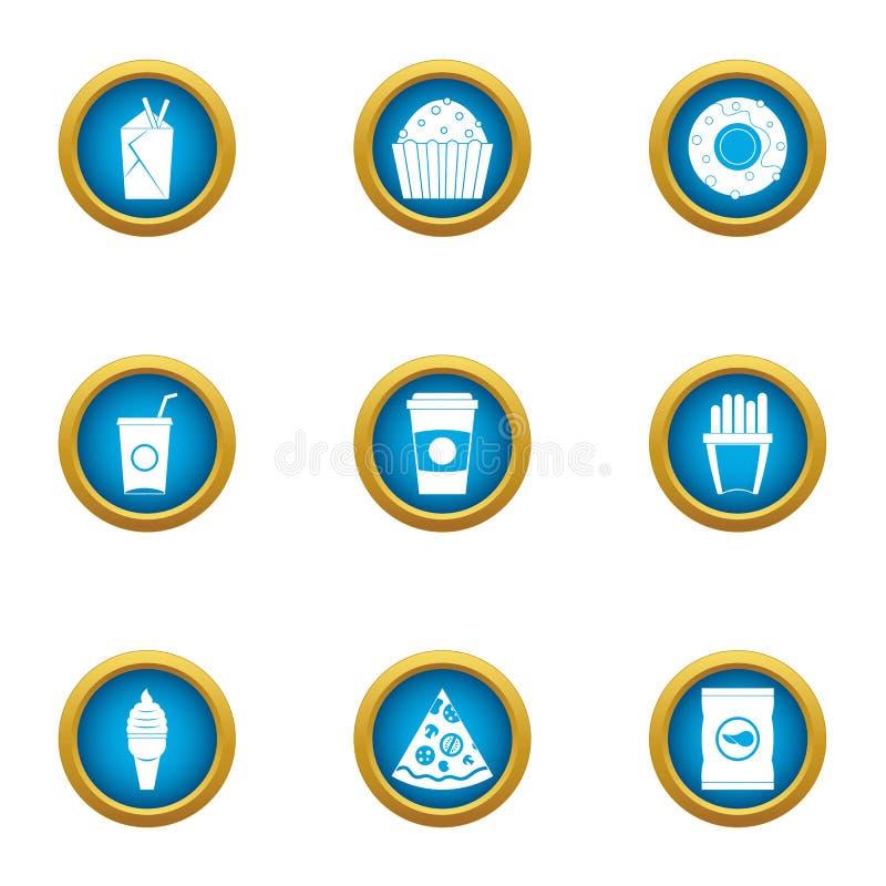 Coma codicioso los iconos fijados, estilo plano libre illustration