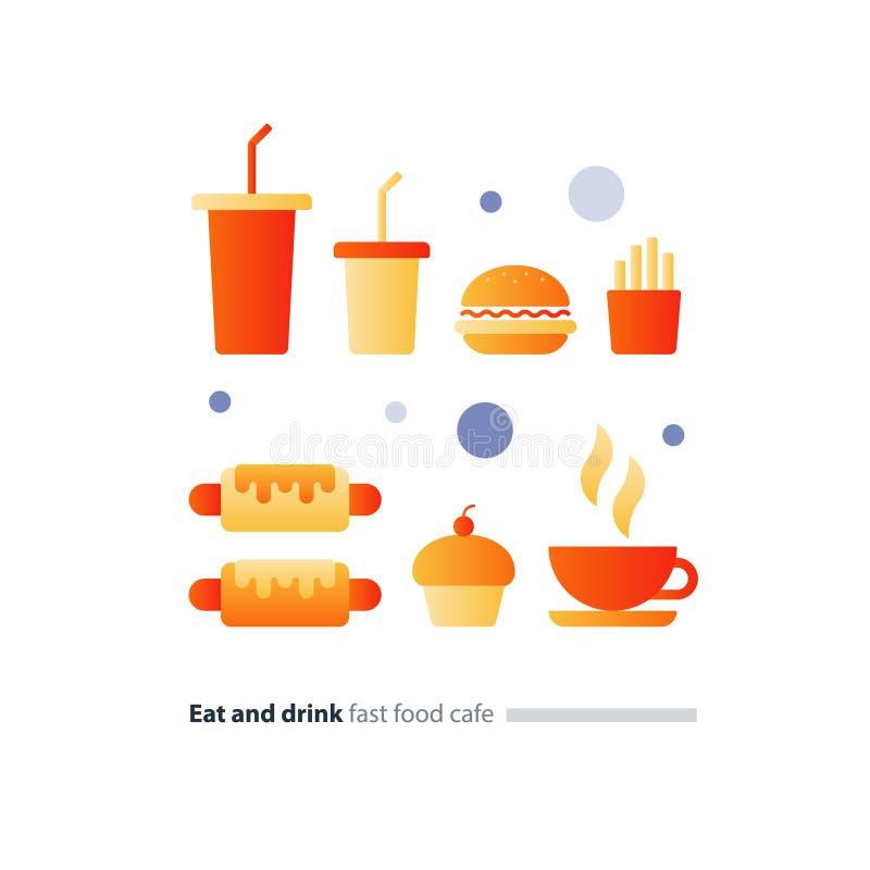 Coma e beba o grupo de ícones lisos do fast food, itens de menu do café ilustração royalty free