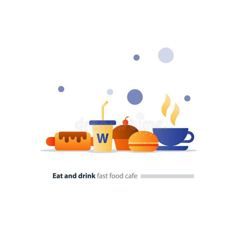 Coma e beba o grupo de ícones lisos do fast food, itens de menu do café ilustração do vetor