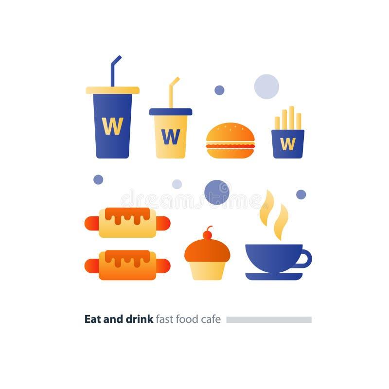 Coma e beba o grupo de ícones lisos do fast food, itens de menu do café ilustração stock