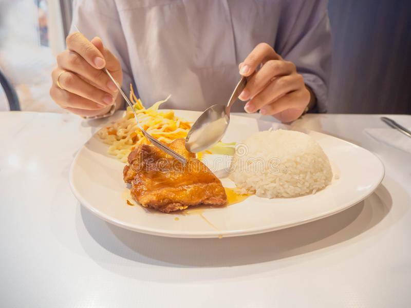 Coma el almuerzo con el menú de la salsa de pescados del pollo frito foto de archivo