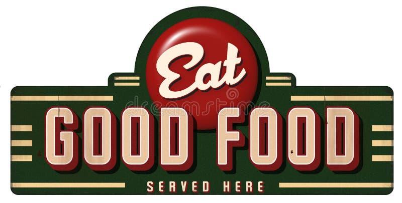 Coma el buen metal de la muestra del vintage de la comida servido aquí stock de ilustración