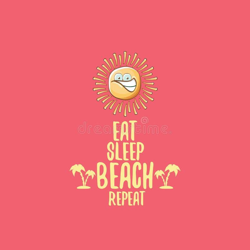 Coma el ejemplo de la historieta del concepto del vector de la repetición de la playa del sueño o el cartel del verano carácter e stock de ilustración