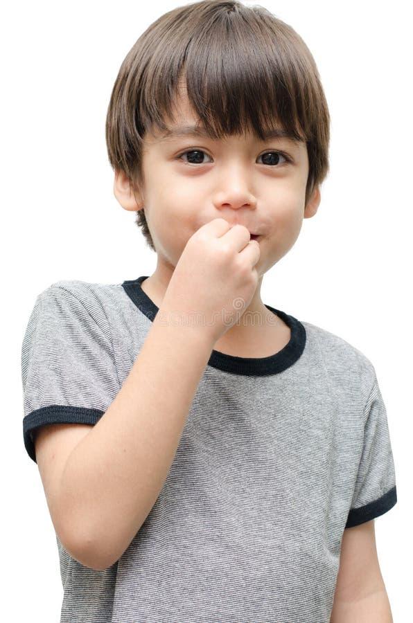 Coma el lenguaje de signos de la mano del niño fotografía de archivo