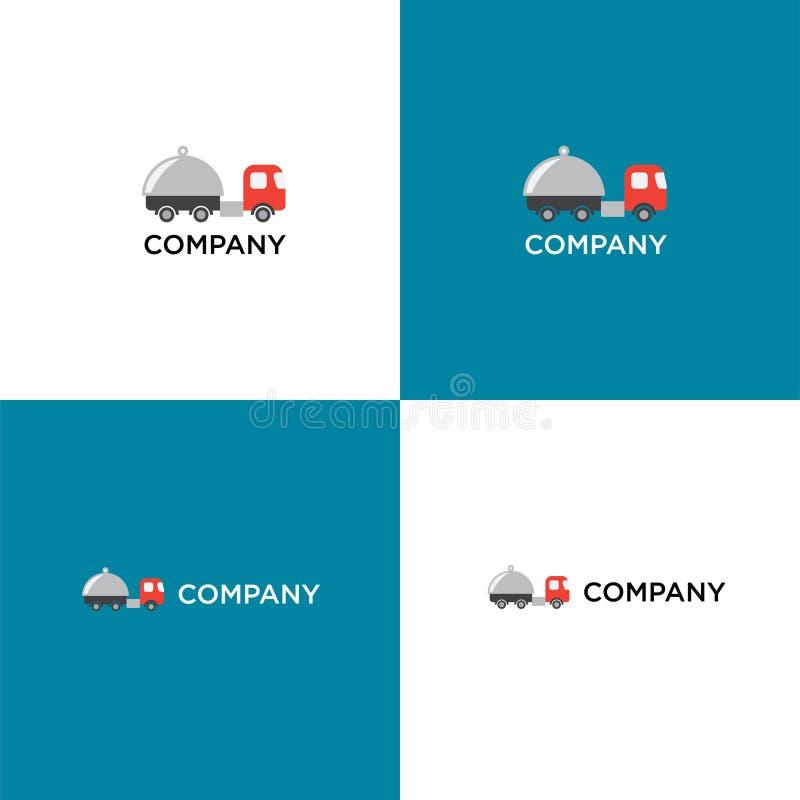 Coma, entrega do alimento ou logotipo do restoraunt ilustração stock