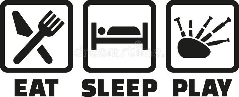Coma a gaita de fole do jogo do sono ilustração stock