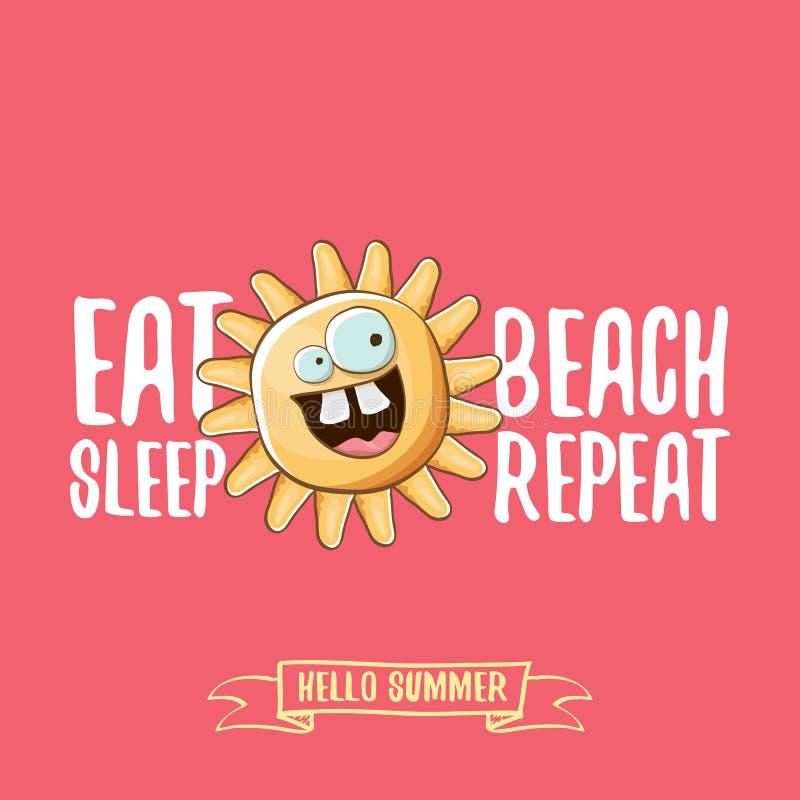 Coma a ilustração dos desenhos animados do conceito do vetor da repetição da praia do sono ou o cartaz do verão caráter funky do  ilustração stock