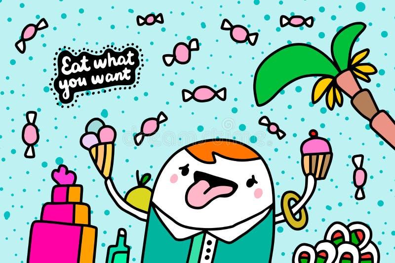 Coma lo que quieras ilustración vectorial hecha a mano en caricaturas estilo cómoico hombre con pastel de helado bananas comida libre illustration