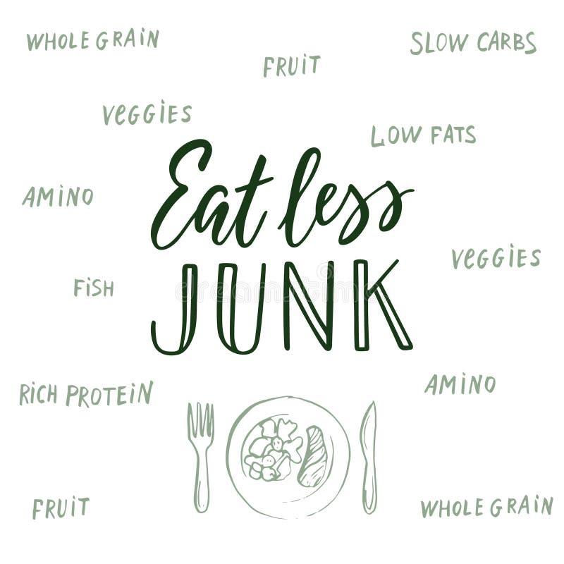 Coma menos sucata! Citações e fundo caligráficos sobre comer saudável ilustração royalty free