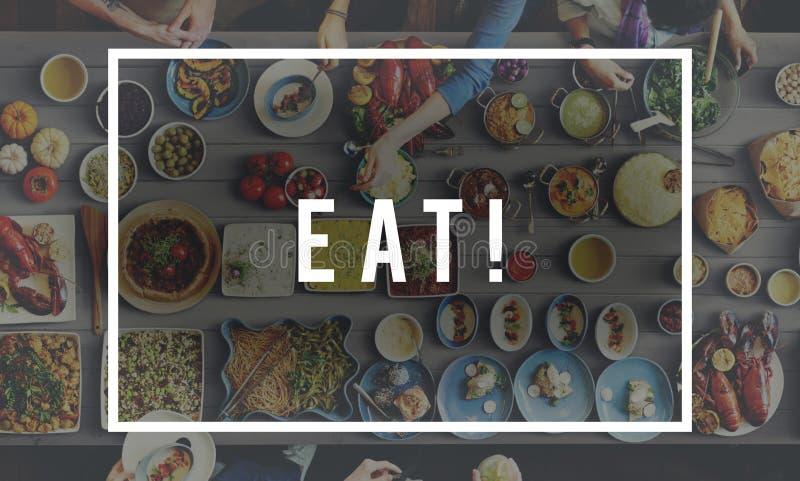 Coma o conceito delicioso da celebração do partido comer do alimento fotografia de stock royalty free