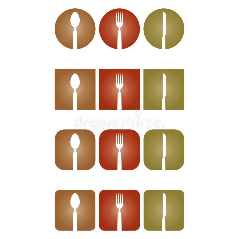 Coma o logotipo da cutelaria, do restaurante e do cozinheiro ilustração royalty free