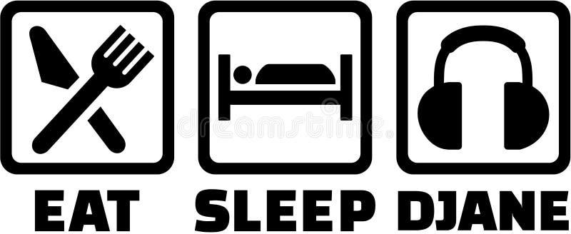 Coma o sono e o Djane ilustração royalty free