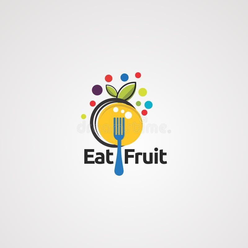 Coma o vetor, o ícone, o elemento, e o molde do logotipo do fruto ilustração do vetor
