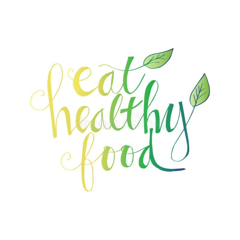 Coma a rotulação saudável do alimento ilustração stock