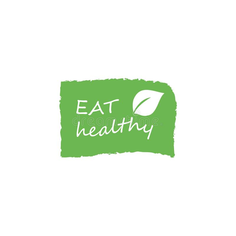 Coma saudável - o cartaz inspirador ou a bandeira com frase da mão-rotulação comem saudável no fundo verde com ícones lineares na ilustração royalty free