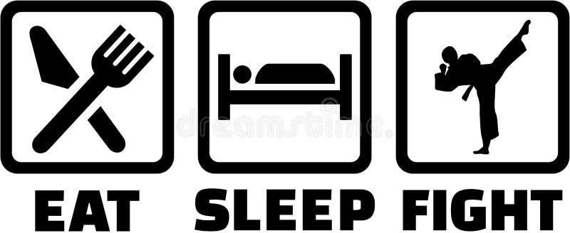 Coma sinais do karaté da luta do sono ilustração royalty free