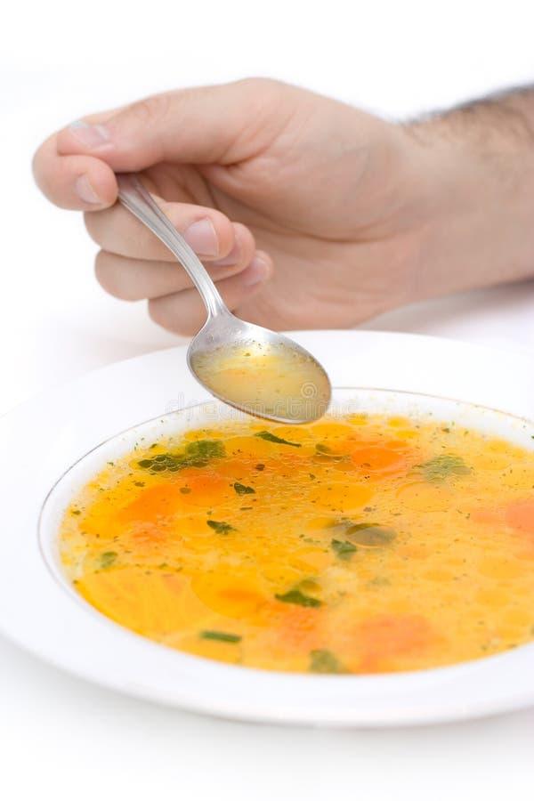 Coma sua sopa fotos de stock
