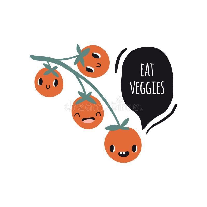 Coma verduras. Imprimir con tomates ilustración del vector