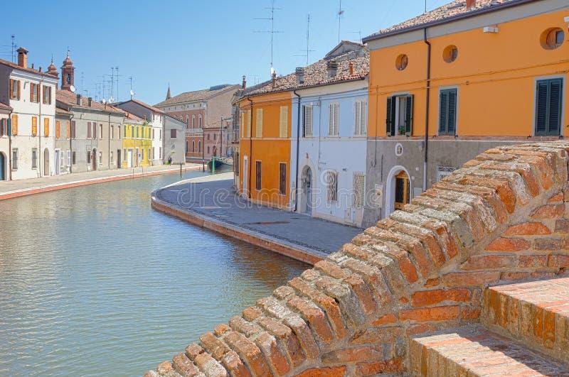 Comacchio,费拉拉,伊米莉亚-罗马甘,意大利视图  免版税库存照片