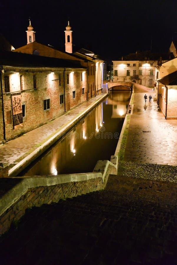 Comacchio, Ferrara, Italy. Night view of a Canal stock photography