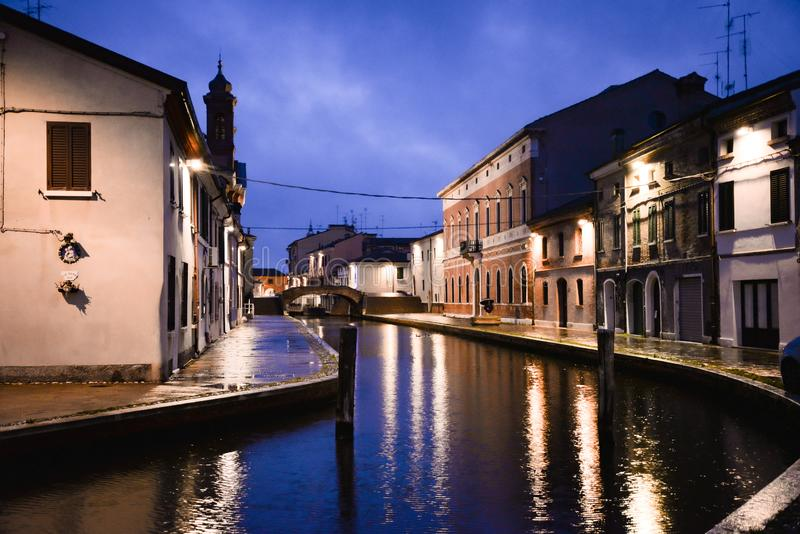 Comacchio, Ferrara, Italy. Night view of a Canal royalty free stock photography