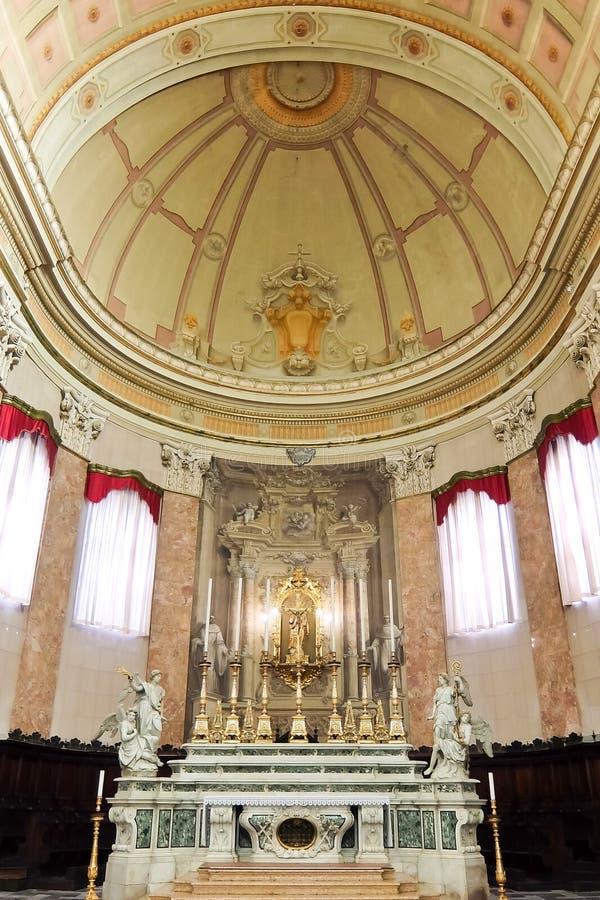 Comacchio Italien Inre av katolska kyrkan Duomo di Comacchio royaltyfria bilder