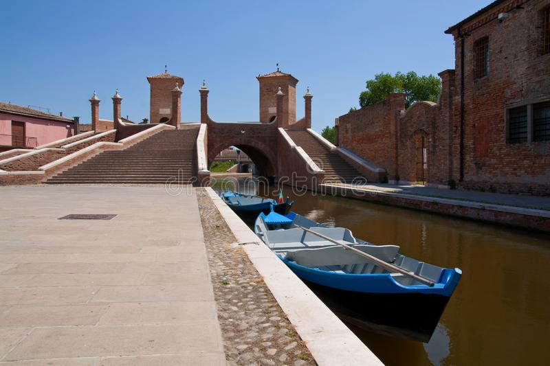 Comacchio, Italy, April 2011. Tre Ponti - tree way bridge. UNESCO World Heritage royalty free stock photo