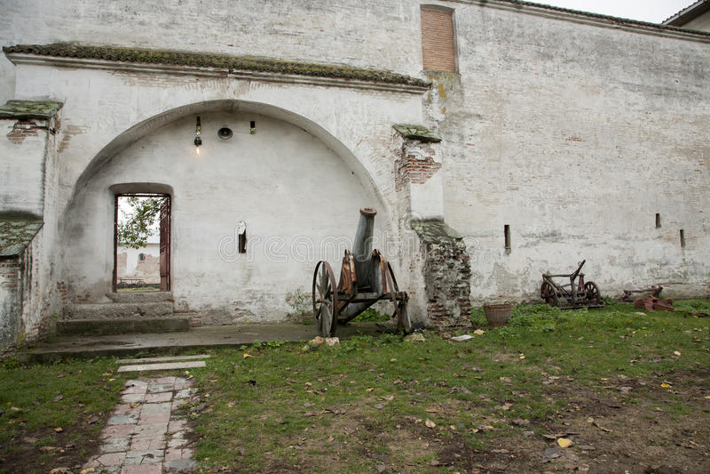 Comana church old wall ruins stock photo