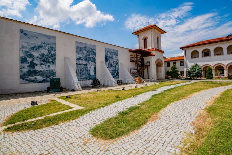 Comana Monastery court, in Giurgiu, Romania. Comana, Romania on 26.07.2020. Comana Monastery. Court on a sunny summer day. Located in Giurgiu county, Romania stock photo