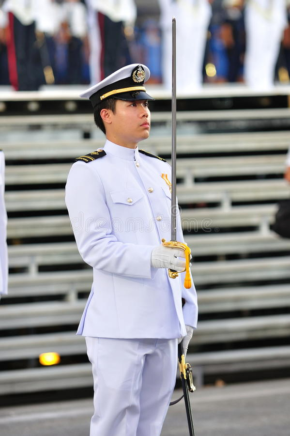 Comandante contingente del blu marino a NDP 2011 immagini stock