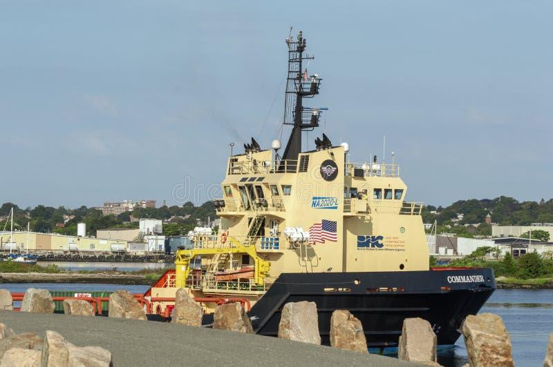 Comandante costero del buque de la fuente que incorpora el harb interno de New Bedford imagenes de archivo