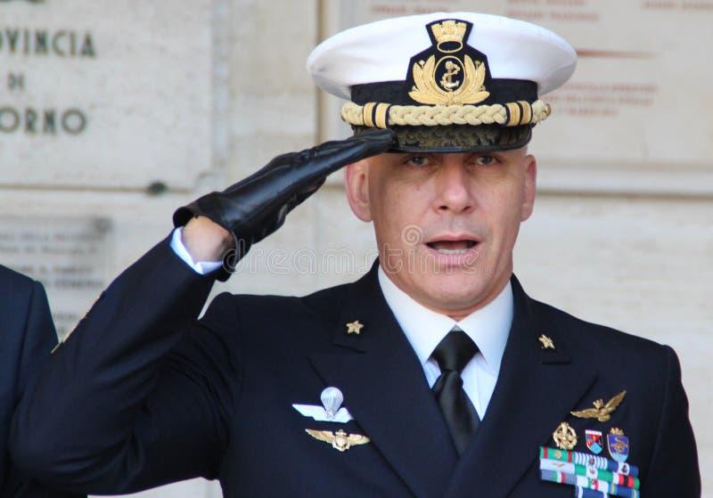 Comandante dell'Accademia Navale del blu marino italiano immagini stock libere da diritti