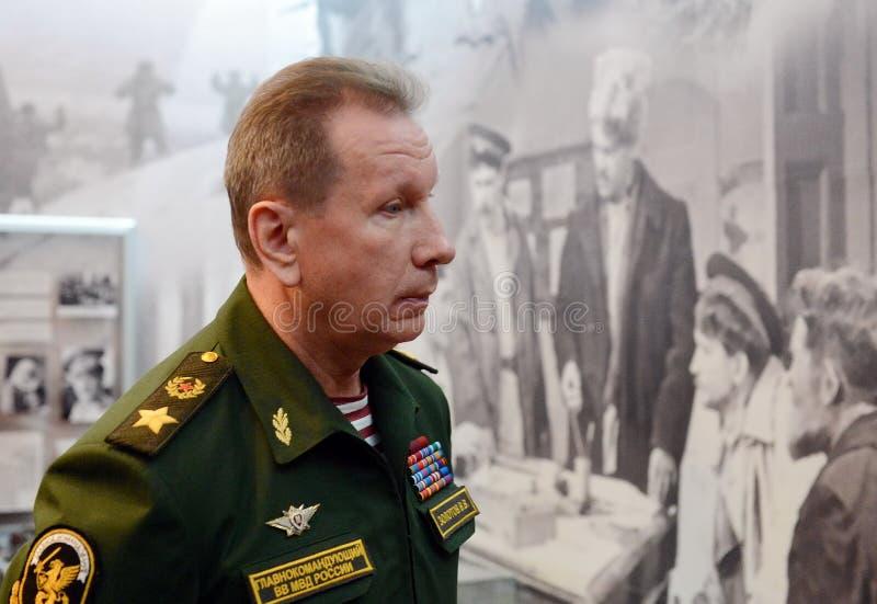 Comandante en jefe de las tropas internas del ministerio de asuntos internos de Rusia, general del ejército Viktor Zolotov imagen de archivo libre de regalías