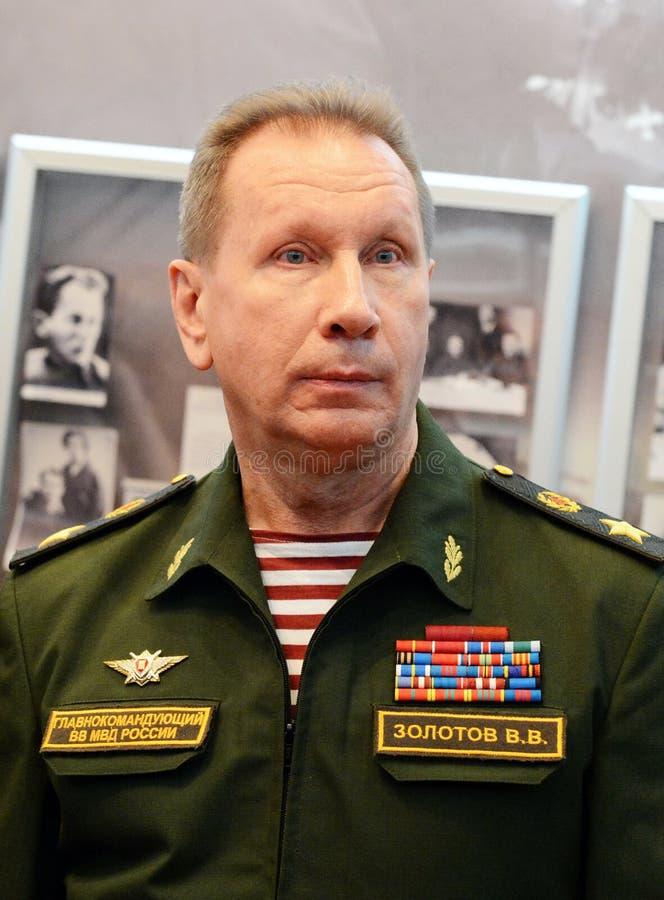 Comandante en jefe de las tropas internas del ministerio de asuntos internos de Rusia, general del ejército Viktor Zolotov foto de archivo libre de regalías