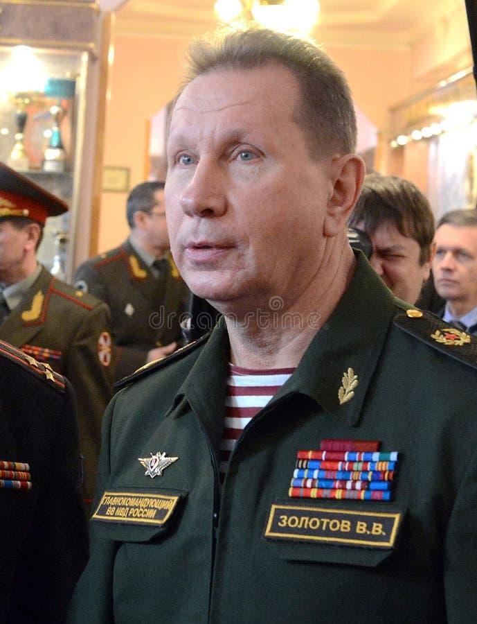 Comandante en jefe de las tropas internas del ministerio de asuntos internos de Rusia, general del ejército Viktor Zolotov fotografía de archivo libre de regalías