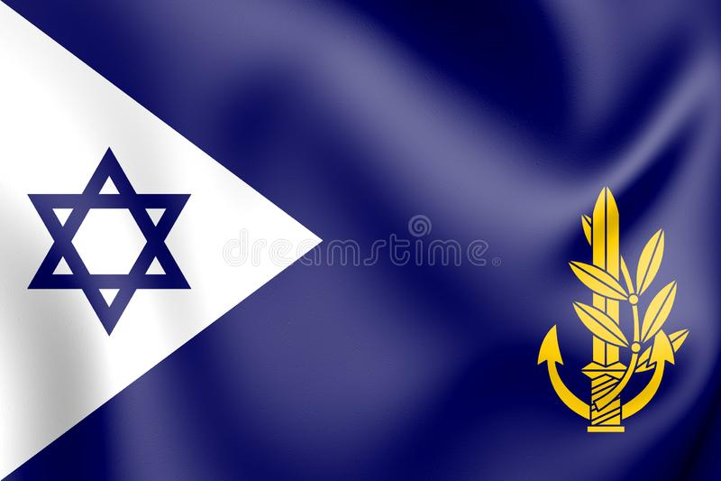 comandante israeliano della marina 3D - in - capo alla bandiera del mare illustrazione di stock